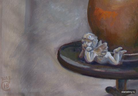 Натюрморт с ангелочком - фрагмент. Художник Старостина Наталья Викторовна.